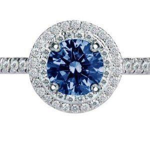 Jewelry - 2.51 CARATS Round blue & white diamonds wedding